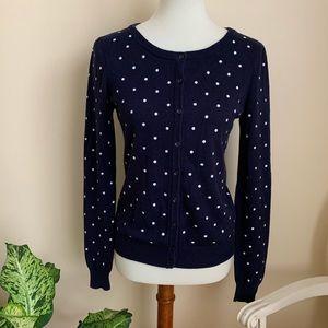 Forever 21 Navy Blue Polka Dot Cardigan Sweater